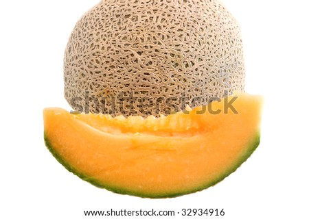 whole cantaloupe melon and sliced cut section