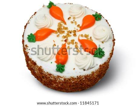 Clip Art Of Carrot Cake : Whole Carrot Cake With Clipping Path Over White. Stock ...