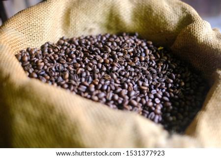 Whole Coffee Beans in a bean bag
