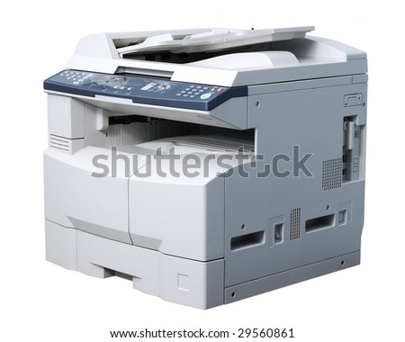 Whole copying machine. Isolated on white.