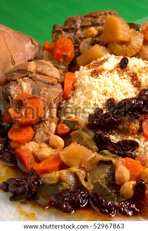 Whole couscous arrangement with all its ingredients