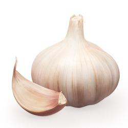 Whole fresh garlic with clove isolated on white background