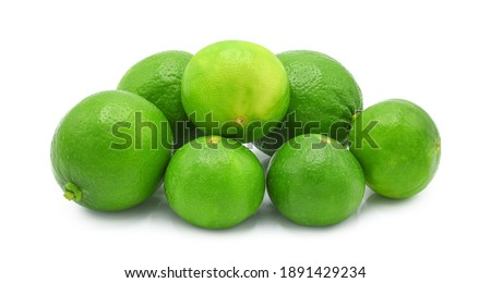 Whole fresh green lime isolated on white background. Foto d'archivio ©