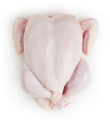 Whole fresh raw chicken isolated on white background with clipping path
