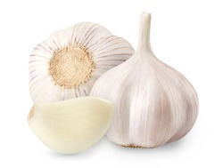 Whole garlic and peeled clove isolated on white background. Full depth of field.