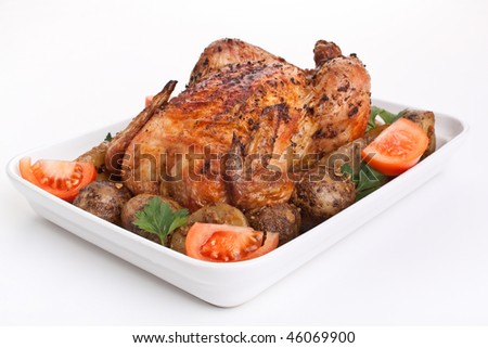 whole golden roasted chicken