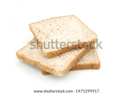 Whole Grain Bread isolated on white background, Breakfast with whole Grain Bread, Closeup whole grain bread