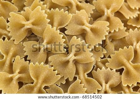 whole grain farfalle pasta close up