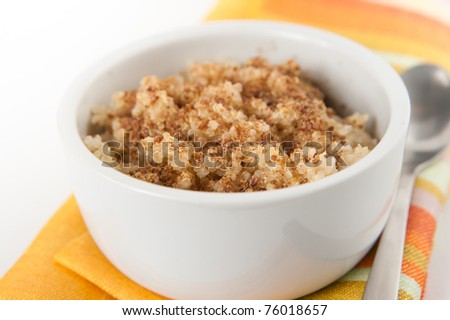 Whole Grain Hot Quinoa Cereal with Flax Meal on Top
