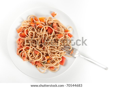Whole Grain Pasta Spaghetti with Freshly Made Sauce