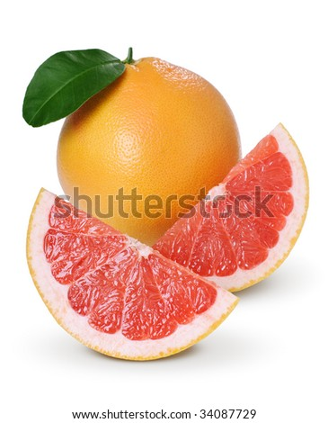 Whole grapefruit and slices