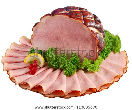 Whole ham honey-baked and orange glazed displayed with slices. Isolated on white.