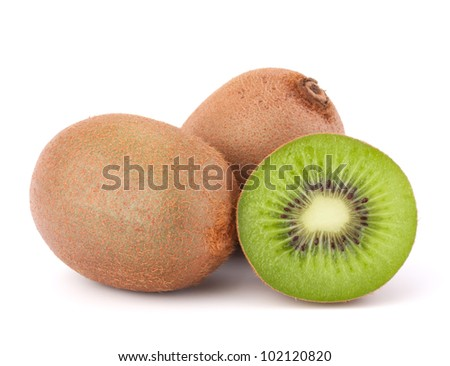 Whole kiwi fruit and his segments isolated on white background cutout
