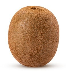 Whole kiwi fruit isolated on white background. Clipping Path. Full depth of field.