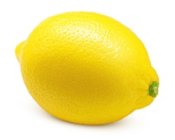 Whole lemon isolated on white background, clipping path, full depth of field