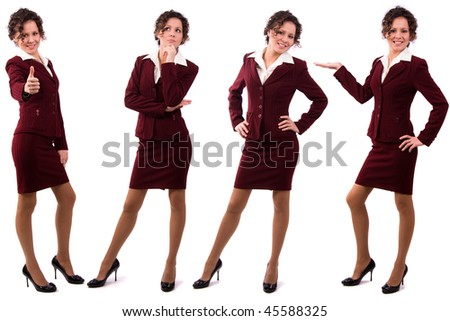 Whole-length portrait of business woman with brown hair is standing. Brunette businesswoman dressed in red suit. Isolated over white background. - stock photo