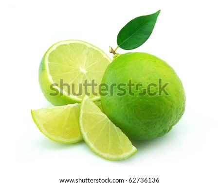 Whole lime and cut on white background.