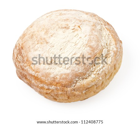 whole loaf of white bread isolated on white background