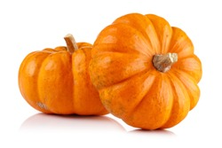 Whole mini pumpkin isolated on white background