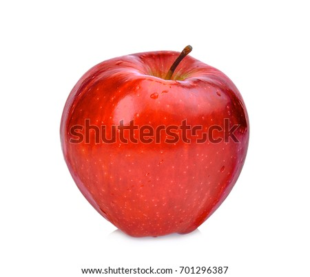 whole of red apple isolated on white background #701296387