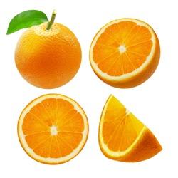Whole orange fruit and slices isolated on white background