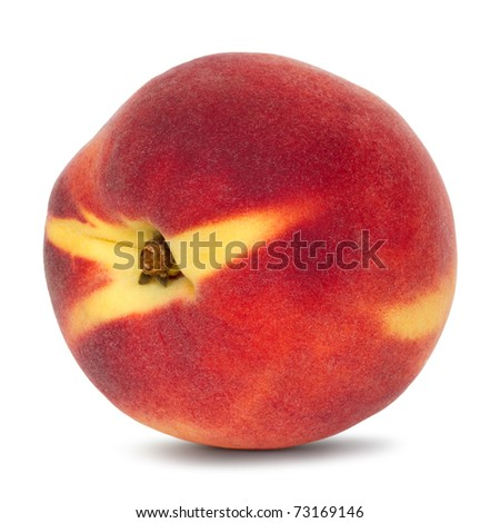 whole peach on white background with drop shadow