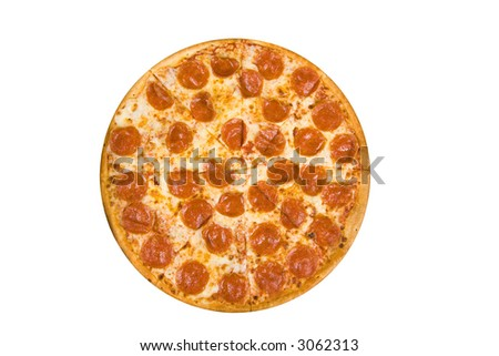 whole pepperoni pizza isolated on a white background