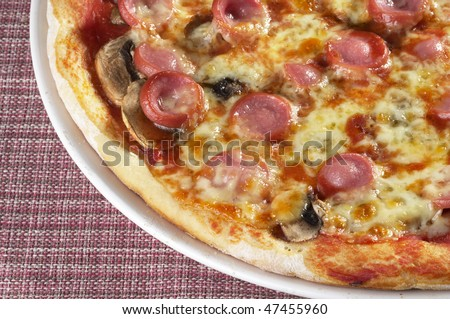 Whole pizza fragment on a plate over checked cloth table