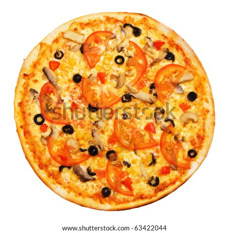 Whole pizza with tomatoes isolated on white - stock photo