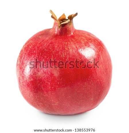 Whole pomegranate isolated on white