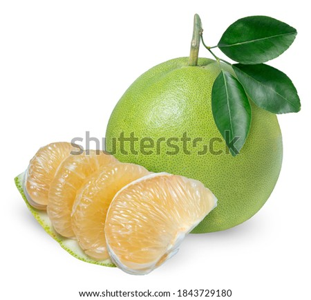Whole pomelo with slice isolated on white background, Pomelo fruit on white background,(With clipping path) Foto stock ©