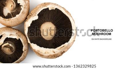 Whole portobello mushrooms, portabella or portobella isolated on white background. Big brown champignons top view
