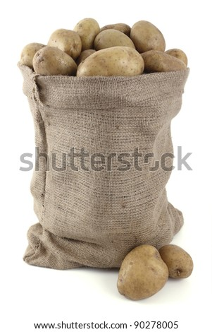 whole potatoes in the sack