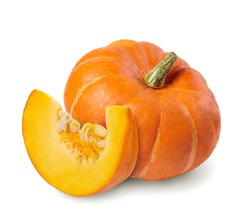 Whole pumpkin and slice of pumpkin isolated on white background.