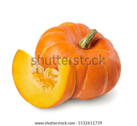 Whole pumpkin and slice of pumpkin isolated on white background. Stockfoto ©