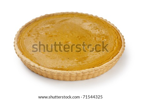 whole pumpkin pie on white background