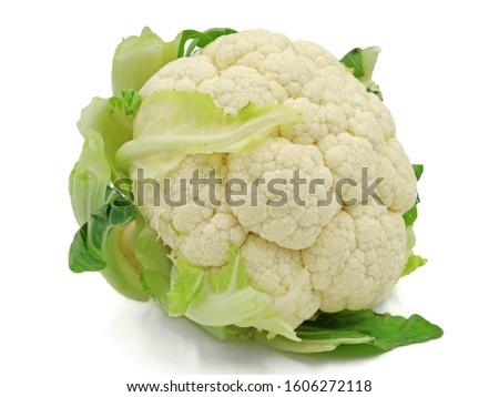 whole raw cauliflower, whole vegetable, isolated on white background Foto stock ©