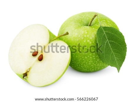 Whole ripe green apple with apple leaf and green apple half isolated on white background with clipping path