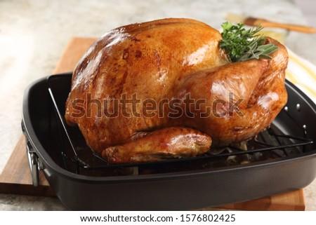 Whole roast turkey in black roasting pan. #1576802425