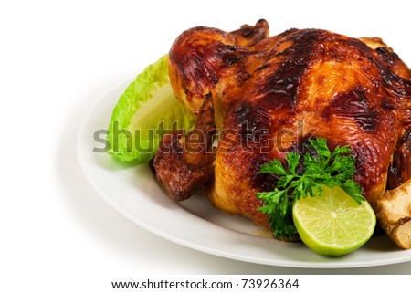 Whole roasted chicken and vegetables
