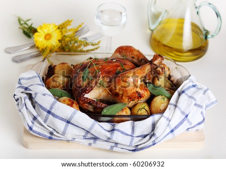 Whole roasted chicken with potato