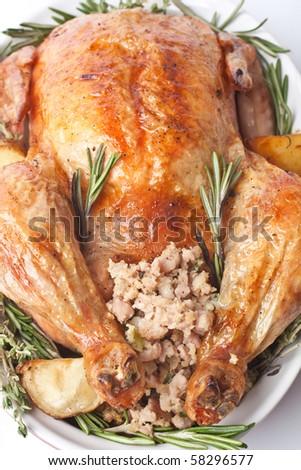 whole roasted stuffed turkey  in a dish