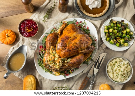 Whole Roasted Turkey Dinner For Thanksgiving with All the Sides