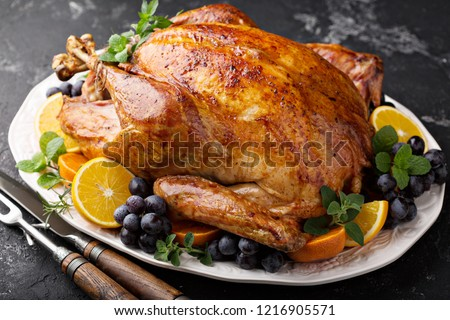 Whole roasted turkey for Thanksgiving or Christmas holiday dinner
