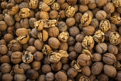 Whole walnuts background. Healthy organic food concept