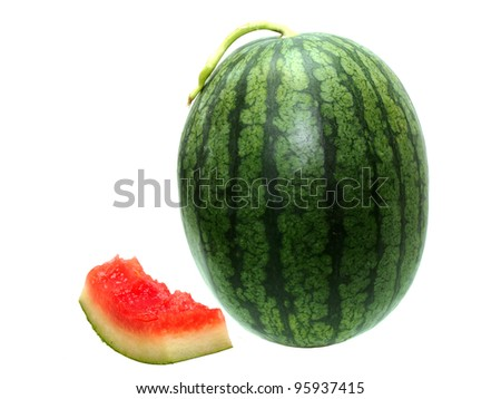 whole watermelon and slice with bites