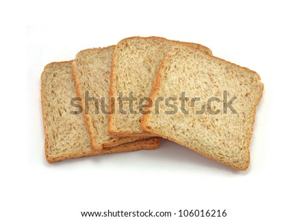 whole wheat bread on white background