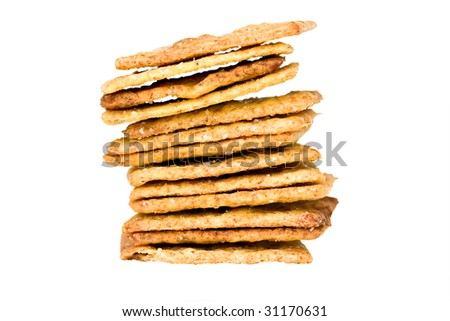 whole wheat crackers isolated on white with clipping path