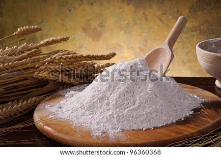 Whole wheat flour with ears corn