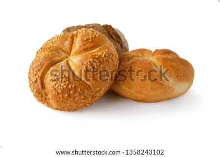 Whole wheat kaiser rolls with sesame seeds isolated on white background #1358243102